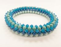 Crystal and Pearl Bangle Jewellery Making Kit with SWAROVSKI® ELEMENTS beads Turquoise tones